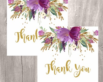 Thank You Tags, Purple and Gold Floral Printable Favor Tags, Instant Download, Elegante Floral Purple and Gold Tags, Baby Shower Favor Tags