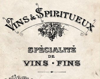 Water French Decal Print transfer to furniture, wood or paper – Vintage French Advert: Vins & Spiritueux #001