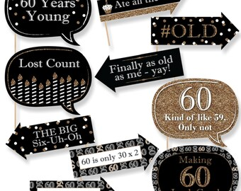 Funny Adult 60th Birthday - Gold Photo Booth Props - Birthday Party Photo Booth Prop Kit - 10 Photo Props & Dowels