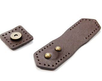 """4.9"""" byhands 100% Genuine Leather Magnetic Snap Closure (12-1202)"""