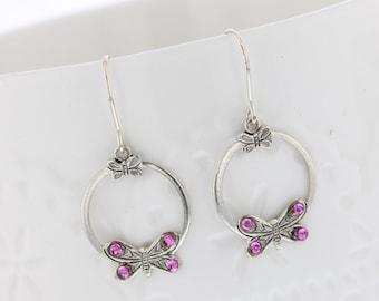 Sterling Silver Butterfly Pink Crystal Dangle Earrings, Swarovski Crystal, Sterling Silver, Dangle Earring. Dainty, Romantic