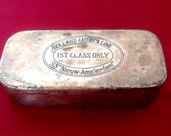 SS Nieuw-Amsterdam, 1st Class Passengers Gift Tin. 1930's. Holland America Line, Maritime Memorabilia.