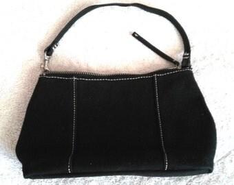 Cute Dark Blue Purse.  Vintage black Handbag . Original Banana Republic Bag . Jeans Fabric Bag . Zipper Purse Handbag . Young Girl Purse Bag