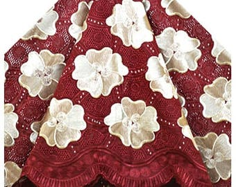 WHOLE 5 YARDS Voile Lace Fabrics Wine & Cream/Fabrics for Dress, Bridal Material/ Cotton Voile Fabrics Craft Supplies Material