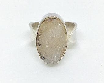 Vintage White Druzy Sterling Silver Ring - Size 7.5
