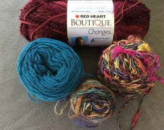 Grab Bag, De Stash, Red Heart Boutique Changes Yarn, Novelty Yarn, Worsted, Metallic, Multi Color, Thick and Thin Maroon and Teal