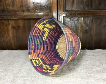 Multi colored Mid century vintage basket from Toluca Mexico