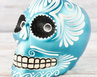 D102 Clay Skull Day of the Death Oaxacan Wood Carving Painting Handcrafted Folk