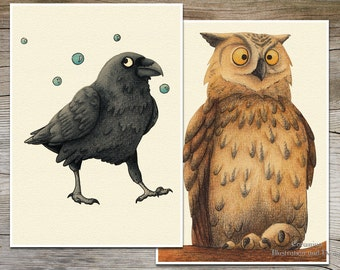 Postcards Owl and Raven limited edition