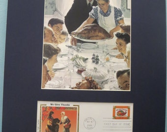 Honoring Thanksgiving and Norman Rockwell's Freedom From Want & First Day Cover of the Thanksgiving stamp