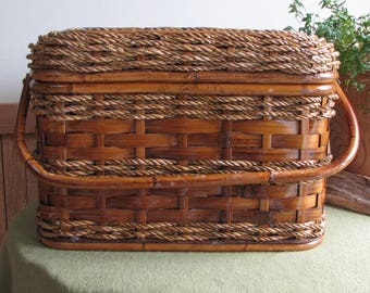 Vintage Rattan Picnic Basket Vintage Food Hamper Outdoor Dining