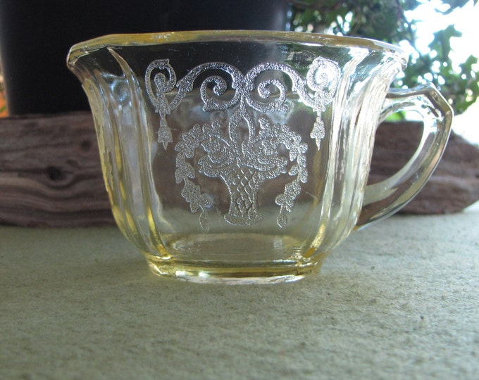 Yellow Depression Glass Tea Cup Lorain by Indiana Glass 1929 to 1932 One (1) Vintage Coffee Cup