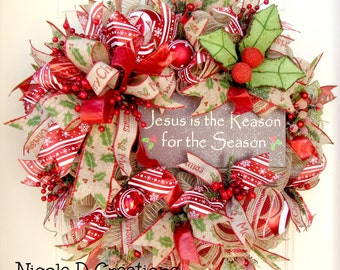 Christmas Wreath- Rustic Wreath- Holiday Wreath- Deco Mesh Wreath- Front Door Wreath