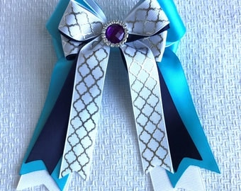 Horse Show Hair Bows/Turquoise White Silver/Purple Sparkle Gem/Beautiful Gift