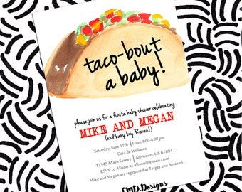 Taco Party Fiesta Baby Shower Couples Shower Girl Boy Invitation PRINTABLE , Custom DIY Digital Printable