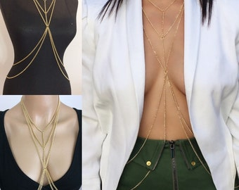 Gold Body Chain , Body Jewelry, Body Chain, Gold Body Necklace