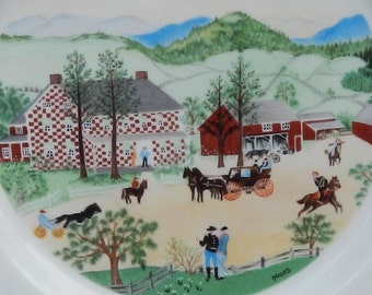 """Grandma Moses """"The Red Checkered House"""" Collectible Plate!"""