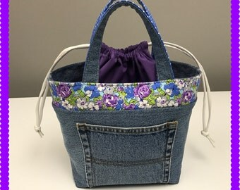 Lunch Bag, Small Tote, Recycled Jean Flowers and Polka Dots