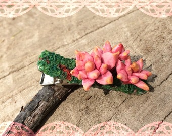 Sculpted Polymer Clay Pink/Red 'Hens and Chicks' Succulent Clips