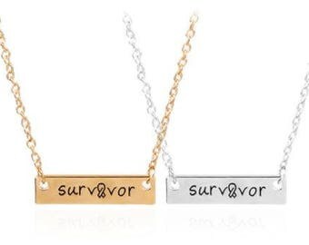 Survivor Bar Stick Pendant Necklace (gold or silver)