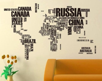 World Map Wall Decal - Words