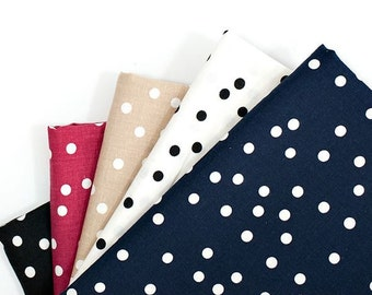 Cute Dots Linen Blended Fabric by Yard, Width 150cm (59 Inches) - 5 Colors Selection