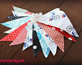 Parisian Party Banner French Bunting Red White Blue Pennant Flag Banner Boho Chic Fabric Bunting Photo Prop Backdrop Nursery Decor Bicycles