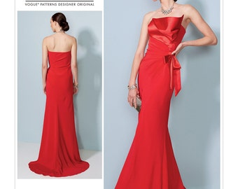 Vogue Sewing Pattern V1533 Misses' Strapless, Front-Drape Dress With Train