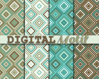Brown and Turquoise Geometric Digital Paper Pack, Instant download, Geometric Decoupage Paper, Digital Background, Scrapbook paper - DM220