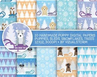 Cute Puppy Digital Paper Pet Scrapbooking Printable Winter Christmas Patterned Paper Sled Snow Tree Shepherd Bulldog Pitbull Husky Retriever