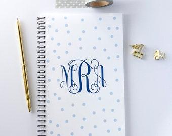 Personalized Notebook, Polka Dot Monogram Spiral Notebook, Writing Journal (NB13)