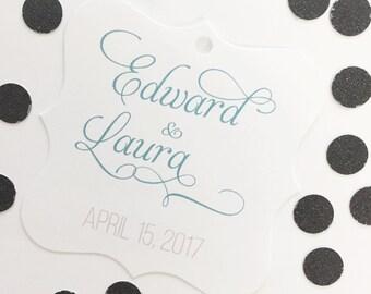 Name Favor Tags, Names Wedding Favor Tags, Wedding Hang Tags  (FS-054)