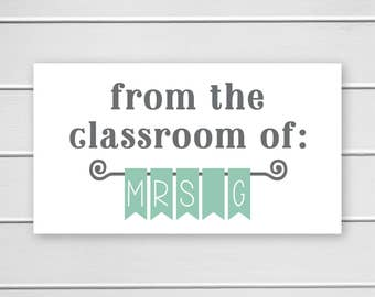 Teacher Classroom Stickers, Name Banner for Classroom, Teacher Classroom Identification Stickers (#406-2)
