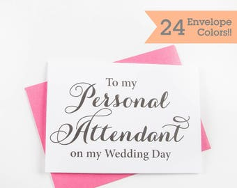 Personal Attendant Thank you Card, Attendant Thank You Card, Wedding Day Cards, Thank you Card (WC114-CA)