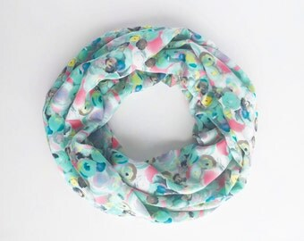 Floral Scarf, Spring Infinity Scarf, Rose Print Scarf, Fall Infinity scarf, Colorful Scarf, Lightweight Scarf, Gift For Wife, Mint Scarf