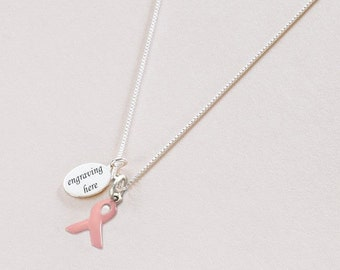 Personalised Breast Cancer Awareness Ribbon Necklace, Sterling Silver.