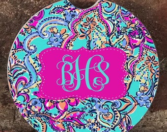 Monogram Absorbent Stone Car Coasters(set of 2),Personalized Car Coaster, Lilly Pulitzer Inspired His & Her Cup Holder(set of 2)