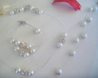 all 7 pieces of mother of Pearl and swarovski