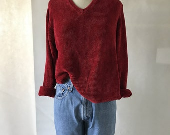 vintage 90's red chenille sweater