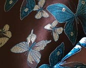 Custom Brocade Wrist and Ankle Restraint Set:  Brown with Butterflies and Turquoise Leather Straps