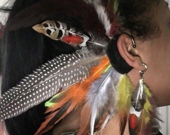 ear cuff boucles d'oreilles bijou d'oreille en plumes multicolores pendentif plume metal