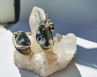 Zebra Jasper A-Symmetrical Earrings/ Sterling Silver