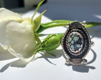 New Lander Turquoise and Silver Ring/ Size 7