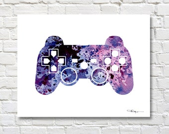 Game Controller- Art Print - Abstract Watercolor Painting - Wall Decor