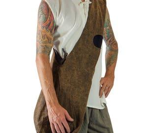 MONK BAG - Renaissance Festival Bag Sling Bag Shoulder Bag Messenger Bag Reversible wth front pocket and wood closures - Gray + Brown