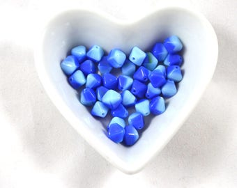 Czech glass beads bicone 8mm Aqua 2 color blue (30 pc)