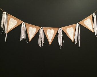 Heart Banner,Burlap Banner,Burlap Bunting,Burlap Garland,Rustic DecorHome Decor,Wedding Decor.
