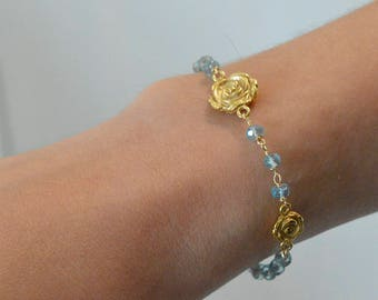 Goldfilled Bracelet set with aquamarines and charms of roses