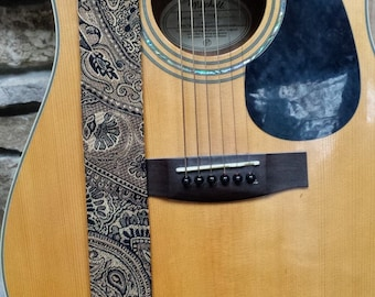 Black and Gold Threaded Guitar Strap; Statement Guitar Strap; Unique Guitar Straps; Paisley Guitar Straps; Guitar Straps; Woven Straps