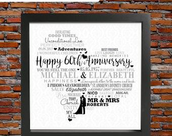 60th wedding anniversary - Diamond wedding anniversary, 60th wedding anniversary gift, 60th anniversary gift